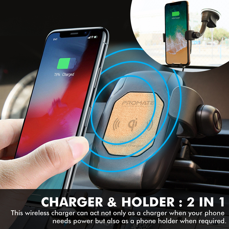 Promate AuraMount-BT Qi-Certified Wireless Car Charger, Auto Clamping 5W/7.5W/10W Fast Charger Car Mount with Wireless Mono Headset, Built-In Mic and 360 Degree Swivel Head, for Mobile Phones, Beige