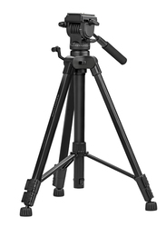 Promate Precise-170 Professional Aluminum 170cm Camera Tripod for Canon/Nikon/DSLR/Video Camcorder, 3 Way Pan Head, Quick Release Plate, 5KG Load Capacity, Bubble Level, Black