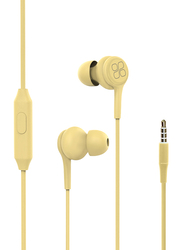 Promate Duet 3.5mm Jack In-Ear Hi-Res Noise Isolating Earphones with Built-in Mic, Yellow