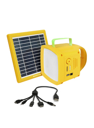 Promate SolarTorch-1 3-in-1 Outdoor Bright 90lm LED Light with Solar Panel, Built-In FM Radio, 5W Wireless Speaker, 4400mAh Power Bank and USB Charging Port for Tent/Camping/Hiking, Yellow