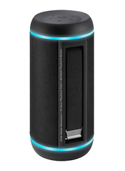 Promate Silox-Pro Portable Indoor/Outdoor 30W Wireless Bluetooth Stereo Speaker, IPX6 Water-Resistant with Mic, FM Radio, TF Card Slot, USB Port, Audio Jack & Built-In 6600mAh Power Bank, Black