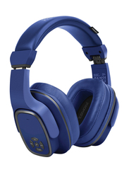 Promate Corvin Wireless 2-in-1 High Definition Over-Ear Headphones with Built-in Mic and 6W Speaker, MicroSD Card Slot, Blue