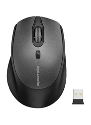 Promate CLIX-5 Wireless Optical Mouse, Ergonomic Lightweight 2.4Ghz with USB Nano Receiver, 15m Working Ranger, Auto Sleep and Precision Scrolling, Black