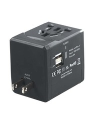 Promate UniPRO.4 Innovative Multi-Regional Travel Adaptor, for USB-Charged Devices, Black