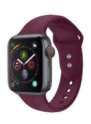 Promate Oryx-38SM Silicone Sport Strap for Apple Watch 38mm/40mm Series 1/2/3/4, Small/Medium Size, Premium Adjustable Strap with Sweatproof and Dual Lock Pin, Workout, Fitness, Maroon