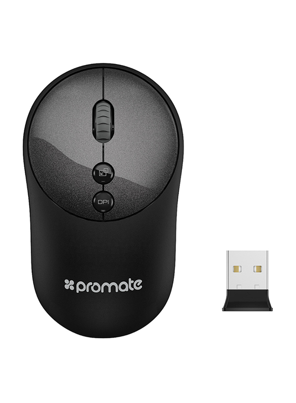 Promate CLIX-2 2.4Ghz Wireless Mouse, USB Adapter, One-Touch Show Desktop for Windows, Black