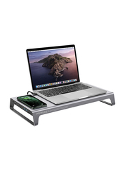 Promate PowerDesk 11-in-1 DeskHub Stand, Aluminium with 87W Type-C Power Delivery, 10W Qi Wireless Charger, 4K HDMI Port, Ethernet Port, 2 USB 3.0, VGA, Aux Port and SD/MicroSD Slot, Grey