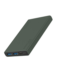 Promate 10000mAh Bolt-10 Portable Fast Charging Power with Input USB Type-C Port, 2.0A Dual USB Port, Over Charging Protection, Green