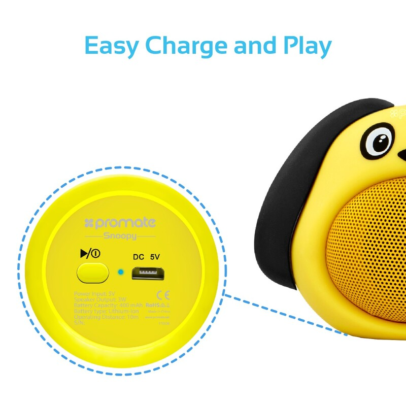 Promate Snoopy Wireless Speaker, Portable Kids Bluetooth v4.1 Speaker with HD Sound Quality, Hands-Free Call Function and Cute Dog Design, Yellow