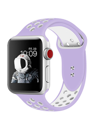 Promate Oreo-38ML Silicone Sport Band for Apple Watch 38mm/40mm Series 1/2/3/4, Medium/Large Size, Dual-Toned Soft Breathable Silicone with Dual Lock Pin and Sweat Resistant, Purple/White