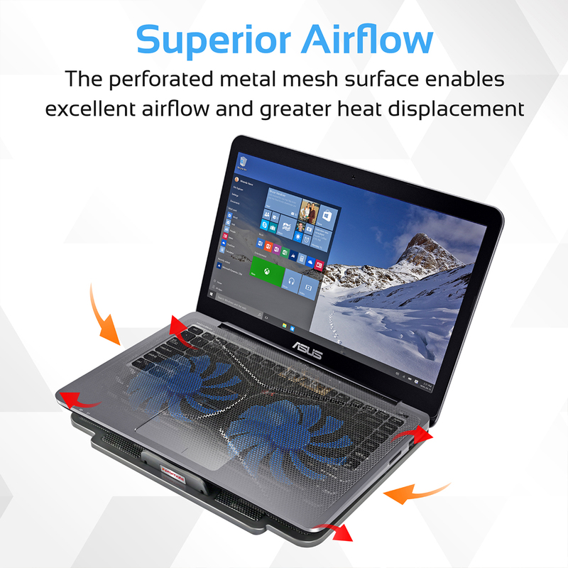 Promate AirBase-1 Laptop Cooling Pad for Laptop Upto 17-inch, Universal High-Performance with 2 Cooling Fan, Dual USB Port, Anti Slip Grip, and Silent Fan Technology, Black