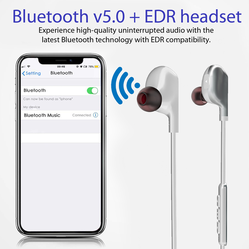 Promate Vitally 4 Magnetic Wireless Bluetooth v5.0 HD Bass Stereo In-Ear Noise Cancelling Neckband Headphones with Mic, Sweat Resistant, Camera Shutter Remote, White