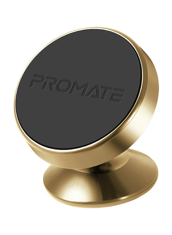 Promate Magnetto-2 Magnetic Car Smartphones/Tablets Holder, Multi-Angle 360° Metallic Magnetic Mount with Anti-Slip Surface, Fast Swift-Snap Technology, Gold