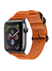 Promate Nylox-38 Nylon Sport Strap for Apple Watch 38mm/40mm Series 4/3/2/1, High-Quality Adjustable Woven Nylon Strap with Quick Release Matte Steel Buckle and Sweatproof, Orange