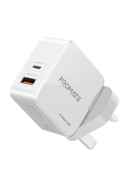Promate PowerCube 36W Fast Charging Dual Port UK Wall Charger, with Qualcomm Quick Charge 3.0 Port and USB-C Power Delivery, White
