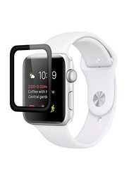 Promate Guardio-42 Screen Protector for Apple Watch 42mm Series 1/2/3, 3D Full Coverage Tempered Glass with Scratch Resistance 9H Hardness and Anti-Fingerprint, Clear