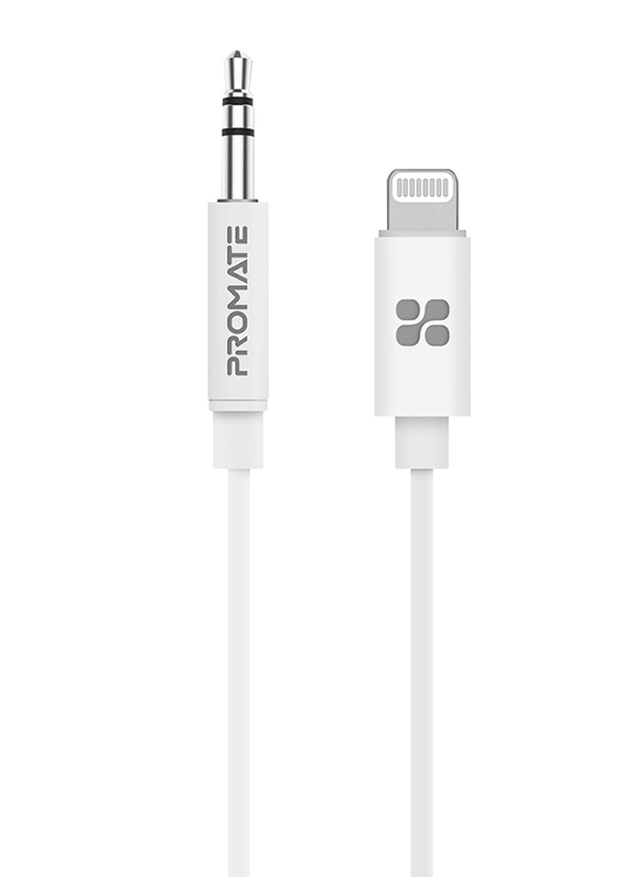 Promate 1-Meter AudioLink-LT1 Lightning AUX Cable, Lightning Male to 3.5mm AUX, Apple MFi Certified, Headphone Jack Adapter Stereo Audio, Digital Analog Converter for Bose/Marshall, White