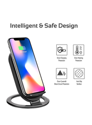 Promate AuraDock-3 Wireless Charger, 15W 2 Coils Qi Wireless Charging Pad with Detachable Stand and Over-Charging Protection for Mobile Phones, Black