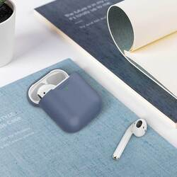 Promate AirCase Silicone Case for Apple AirPods/AirPods 2, Ultra-Lightweight Protective 360 Degree Cover with Scratch-Resistance and Wireless Charging, Navy Blue