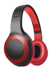 Promate Laboca Wireless Over-Ear Deep Bass Headphones with Built-in Mic, MicroSD Card Slot, Red