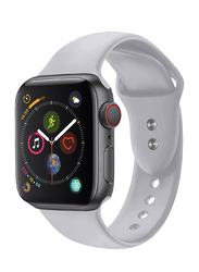 Promate Oryx-42SM Silicone Wrist Strap for Apple Watch 42mm/44mm Series 1/2/3/4, Small/Medium Size, Durable Sweatproof Strap with Secure Double Lock Pin and Adjustable Soft Band, Grey