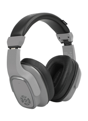 Promate Corvin Wireless 2-in-1 High Definition Over-Ear Headphones with Built-in Mic and 6W Speaker, MicroSD Card Slot, Grey