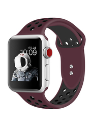 Promate Oreo-42ML Silicone Sport Band for Apple Watch 42mm/44mm Series 1/2/3/4, Medium/Large Size, Dual-Toned Perforated Silicone with Secure Dual Pin-Tuck Closure and Sweat-Resistant, Maroon /White