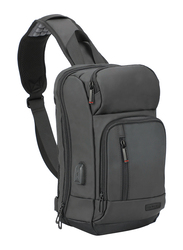 Promate TrekPack Sling 13-inch Water Resistant Backpack Laptop Bag, with USB Charging Port, Black