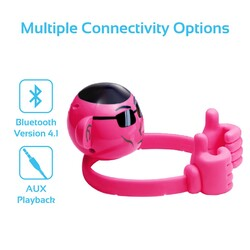 Promate Ape Bluetooth Speaker, Portable Monkey Shape Multifunction Wireless with 3.5mm Audio Jack and Thumbs-up Adjustable Flexible Smartphone Holder, Pink