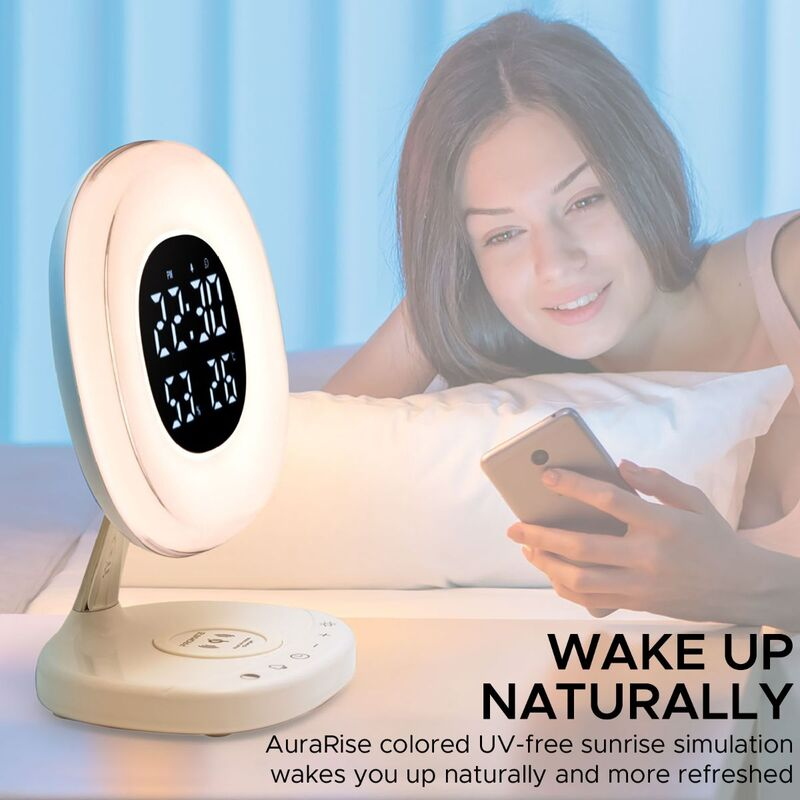 Promate AuraRise Wireless Charging Alarm Clock, Soothing Touch Control 6 Color LED Night Light, Wake-Up Digital Alarm Clock, 10W Fast Qi Wireless Charging for Home, Qi-Enabled Smartphones, White