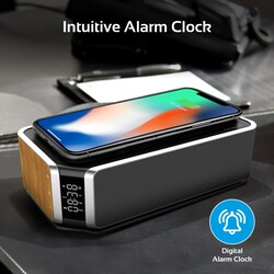 Promate AuraBoom Bluetooth Speaker, Powerful 10W with Qi Wireless Charging Station, TF Card Slot, Audio Jack, Built-In Mic, LED Alarm Clock, Time Display and FM Radio, Beige