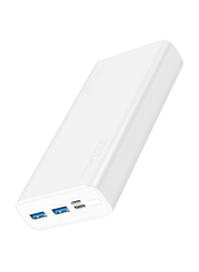 Promate 20000mAh Bolt-20 Fast Charging Portable Power Bank, with 2A Dual USB Port, Over-Charging Protection and USB-C, Micro USB Input Port, White