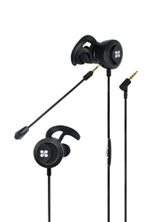 Promate Clink In-Ear Passive Noise Cancellation Gaming Earphones with 3.5 mm Jack and Detachable Dual Mic Volume Control, Black