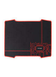 Promate Xtrack-2 Gaming Mouse Pad for Computers/PC/Laptop, Ultra-Thin Foldable Large Mouse Mat with Anti-Skid Rubber Base, Stitched Edges, Antimicrobial and Anti-Stain Surface, Black