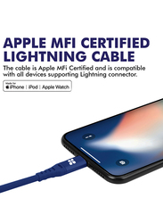 Promate 2-Meter NerveLink-i2 Lightning Cable, High-Speed 2.4A USB A Male to Lightning, MFi Certified, with Tangle-Free Design and Protection for Apple iPhone XS/XS Max/iPad Pro/iPod, Blue