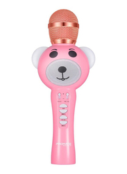 Promate RockStar-2 Kids Karaoke Microphone for Smartphones/KTV Party, Portable Bluetooth Child Karaoke Mic Machine with HD Speaker, Echo Effect, Volume Control, AUX Port and Micro SD Card Slot, Pink