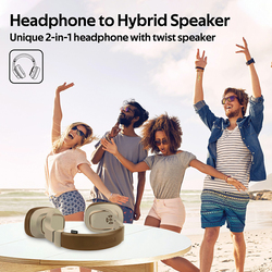 Promate Corvin Wireless 2-in-1 High Definition Over-Ear Headphones with Built-in Mic and 6W Speaker, MicroSD Card Slot, Brown