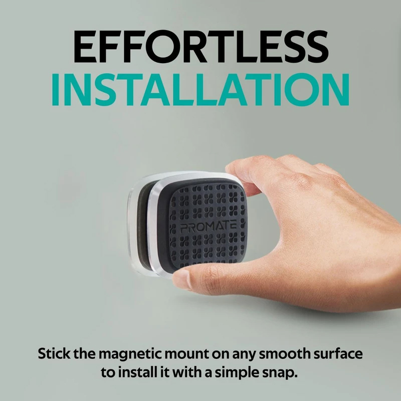 Promate Magnetto Magnetic Car Mount, Universal Slim Flat Stick-On Dashboard with 360 Degree Cradle-Free Design and Anti-Slip Surface, Silver