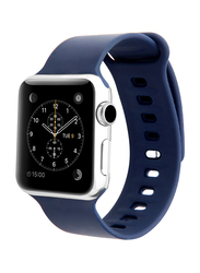 Promate Rarity-38ML Strap for Apple Watch 38mm/40mm Series 1/2/3/4, Medium/Large Size, Adjustable Strap with Sweatproof and Pin-and Tuck Closure, Workout, Fitness, Blue