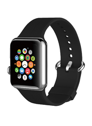 Promate Silica Strap for Apple Watch 42mm/44mm Series 1/2/3/4, Premium Silicone Quick Release Soft Rubber Band with Stainless Steel Buckle and Sweatproof, Black