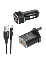 Promate Unigear-QC3.UK 3 Type-C Charging Kit, Qualcomm Certified 3-In-1 Quick Charger 3.0 Travel and Car Charger Kit with 1.2m USB Type-C Sync Charge Cable, for Mobile Phones and Tablets, Black