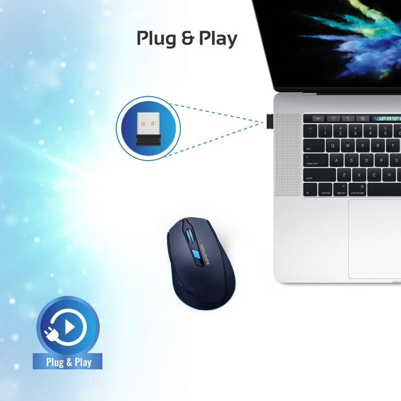 Promate CLIX-6 Wireless Mouse, 2.4G Ergonomic Designed with USB Nano Receiver, 15m Working Distance, Auto Sleep Function and 3 Adjustable DPI, Blue