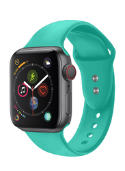 Promate Oryx-42SM Silicone Wrist Strap for Apple Watch 42mm/44mm Series 1/2/3/4, Small/Medium Size, Durable Sweatproof Strap with Secure Double Lock Pin and Adjustable Soft Band, Turquoise