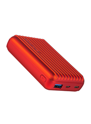 Promate 10000mAh Titan-10C Type-C Power Bank, Micro USB Input and 2.1A USB Port, Automatic Voltage Regulation for USB and Type-C Enabled Devices, Red