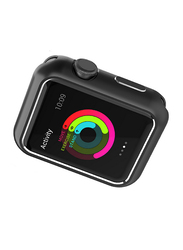 Promate Magnex-42 Bumper for Apple Watch Series 1/2/3, Innovative Magnetic Absorption Aluminum Case Cover with Scratch Resistance and All-Round Shock Proof Protector, Black