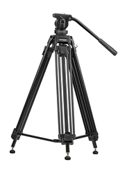Promate Pixels-170 Professional Heavy Duty Aluminium 170cm Video Tripod for Canon/Nikon/Pro/DV Video Cameras with Mid-Level Spreader, 3 Way Pan Head, 10Kg Load Capacity, Black