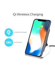 Promate AuraDock-6 Qi Wireless Charging, Fast 15W Wireless Charging Pad Stand with Dual Charging Coil, QC 3.0 Wall Charger, USB-C Sync Charge Cable and Multiple Charging Area, for Mobile Phones, Grey