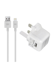 Promate ChargmateLT-UK Wall Home Charger, Apple MFi Certified, 2.1A, with Lightning to USB Data and Charge Cable, White