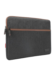 Promate Portfolio-S 11-Inch Laptop Sleeve Bag with Secure Zip and Quick Accessories Multi-Pocket, Black