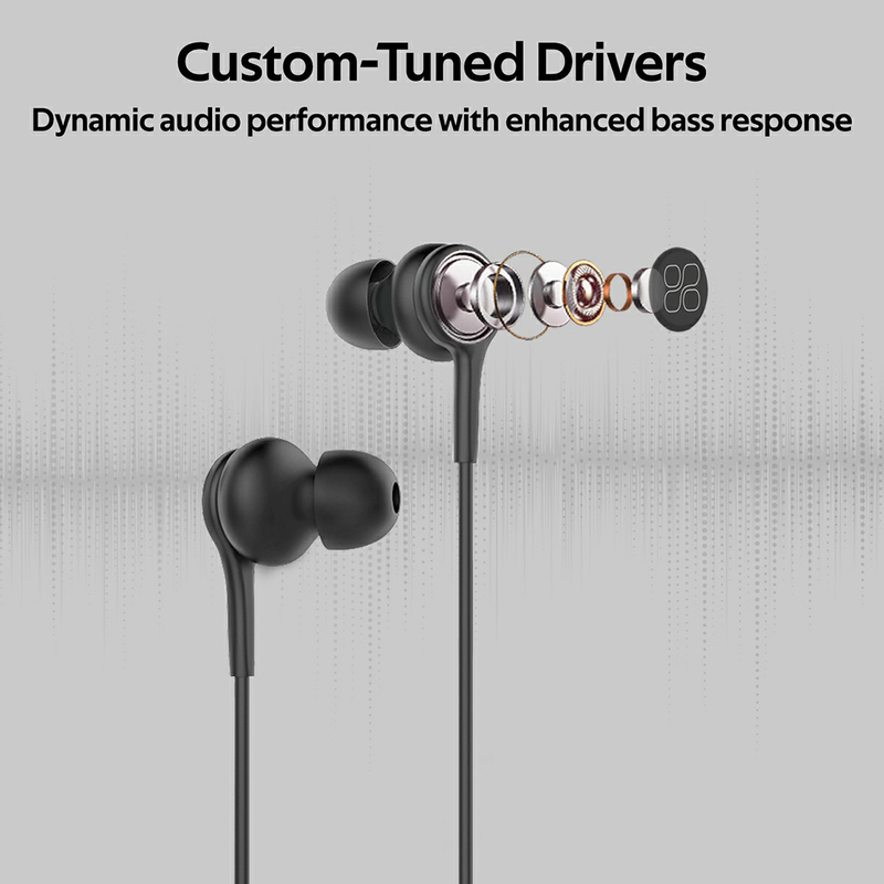 Promate Duet 3.5mm Jack In-Ear Hi-Res Noise Isolating Earphones with Built-in Mic, Black